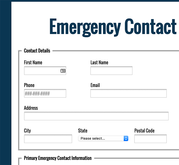 FormAssembly Forms – Emergency Contact Forms