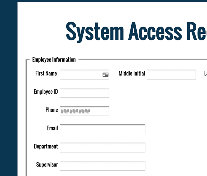 Forms for User access request form template
